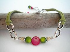 Beaded Green Leather Bracelet with Shell Beads by Stylized Designs, $20.00