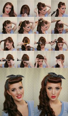 Pinup hairstyle and retool pin up makeup
