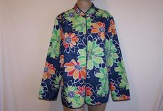 ALFRED DUNNER Quilted Jacket Plus Sz 16W Open Front Long Sleeves Floral Womens #AlfredDunner #BasicJacket