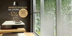 El otoño es esa época en la que la luz tiene más variaciones. Las persianas venecianas de aluminio o madera consiguen regular la luminosidad a la perfección. Aprovecha el descuento de Kaaten y consigue la cortina que necesitas un 5% más barata. Promoción válida hasta el 15/10/15.