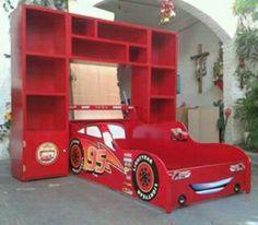 Cama Rayo Mcqueen Cama Carro Cars Recamara Infantil Librero - $ 6,700.00