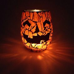 4 Inch Mosaic Pumpkin votive. Custom Orders available by GreatEscapeMosaics on Etsy https://www.etsy.com/listing/249661965/4-inch-mosaic-pumpkin-votive-custom