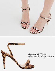 leopard pattern thin ankle strap sandal