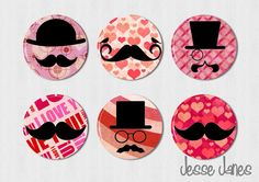 VALENTINE Mustaches set of 6 pin back buttons by jessejanes, $6.00