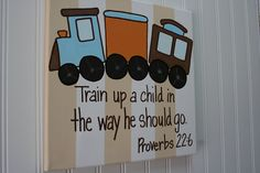 Train up a child, Proverbs 22:6, custom Bible Verse wall art painting 11x14, boy's nursery or bedroom, baby dedication or christening gift
