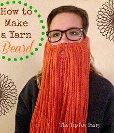 A no sew super easy DIY beard! How to Make a Yarn Beard - The TipToe Fairy Nativity Costumes, Diy Costumes, Family Costumes, Costume Ideas, Halloween Costumes, Cosplay, Crochet Beard, Yarn Wig, Toddler Activities