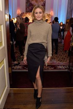 Olivia Palermo wearing Olivia Palermo + Chelsea28 Open Back Wool & Cashmere Turtleneck Sweater