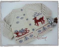 Hand knit baby cardigan . Christmas baby cardigan