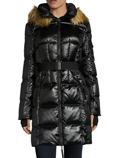 noize krista removable faux fur trim hooded coat winter jackets coats pinterest. Black Bedroom Furniture Sets. Home Design Ideas