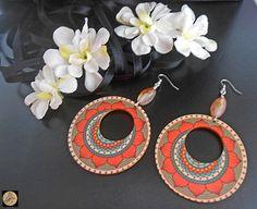 Red Green Mandala earrings Boho Style Earrings Wooden Earrings Modern Earrings Statement jewelry Handmade Bohemian Jewelry by Neda Wooden Earrings, Boho Earrings, Crochet Earrings, Handmade Jewelry, Handmade Items, Unique Jewelry, Handmade Gifts, Artistic Wire, Mandala Coloring
