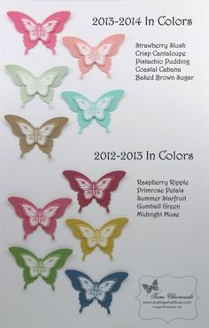 In Colors Collection 2013, Strawberry Slush, Crisp Cantaloupe, Pistachio Pudding, Coastal Cabana, Baked Brown Sugar, Raspberry Ripple, Primrose Petals, Summer Starfruit, Gumball Green, Midnight Muse