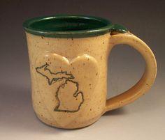 Hand Made Love Michigan Heart Mug/Pottery by AnneMariesPottery