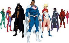 Superman- Val Zod Powergirl- Kara ZorEl Kent Batman- Dick Grayson Huntress- Helena Wayne The Flash- Jay Garrick Red Arrow- Oliver Queen Green Lantern- Alan Scott Red Tornado- Lois Lane Kent