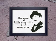 Cross Stitch Pattern Poirot Use your little grey cells  Instant Download PDF Counted Chart #poirot #crossstitch #detective #littlegreycells