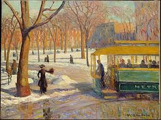"William James Glackens (American, 1870–1938). The Green Car, 1910. The Metropolitan Museum of Art, New York. Arthur Hoppock Hearn Fund, 1937 (37.73) | Glackens had a studio on Washington Square Park in New York City's bohemian Greenwich Village, from which he painted ""The Green Car.""  #newyork #nyc"