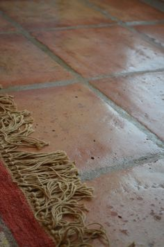mexican pavers terracotta tile on main floor, to match the downstairs den.with decorative pattern in foyer Small Bathroom Tiles, Bathroom Ideas, Bathrooms, Brick Flooring, Flooring Ideas, Floors, Kitchen Hearth Room, Terracotta Floor, Mexican Home Decor