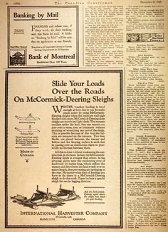 1923 McCormick Deering Sleighs original vintage advertisement. Illustrated in black & white. Designed for winter hauling in Canada. Distributed by International Harvester of Canada.