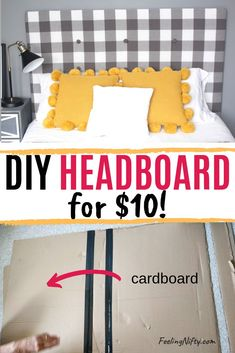 How do I create a fabric headboard on a budget? Home ideasLearn how to incorporate a fabric headboard into your bedroom design for an elegant, elevated style. In addition, this beautiful, tufted DIY headboard is Cheap Diy Home Decor, Diy Home Decor Rustic, Easy Diy Room Decor, Homemade Home Decor, Cheap Diy Headboard, How To Make Headboard, Headboard Ideas, Making A Headboard, Diy Full Size Headboard