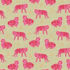 Tiger Plant Tigers Fuschia on Linen Blend