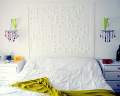 "Braille headboard telling their ""secrets""... could be great on a smaller scale, a canvas maybe and painted"