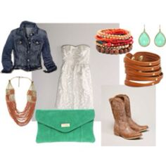 A look that would go well with a pair of cowboy boots like these:   http://www.onlinebootstore.com/Merchant2/merchant.mvc?Screen=PROD_Code=obs_Code=A10000797_Code=AriatWomensWestern