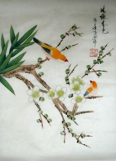 Chinese Brush Painting of Yellow Birds and Plum Blossoms