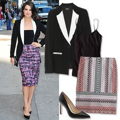 10 Celebrity-Inspired Summer Outfits to Wear to Work - Sharp Blazer + Printed Skirt from #InStyle