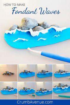 How to Make Fondant Waves sea, ocean, waves, fondant, cake decor. - How to Make Fondant Waves sea Ocean Cakes, Beach Cakes, Cake Topper Tutorial, Fondant Tutorial, Cake Decorating Techniques, Cake Decorating Tutorials, Decorating Ideas, Art Tutorials, Wave Cake