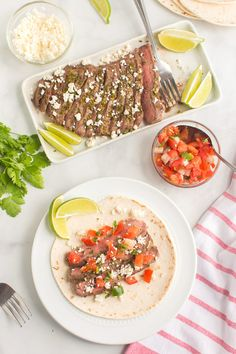 Steak Street Tacos are portable and filled with juicy seasoned beef, tomatoes, and cheese. Make this steak taco recipe for dinner tonight! Easy Family Dinners, Healthy Family Meals, Quick Easy Meals, I Love Food, Good Food, Yummy Food, Tasty, Delicious Recipes, Easy Recipes