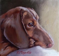 Miniature Dachshund Daydreaming- Dachshund Pet Portrait Painting