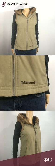 """Marmot Fur Lined Hooded Vest sz S Excellent condition, super warm and very cozy!   This has a 36"""" bust and is 23.5"""" Long.  No holes, stains or tears! Marmot Jackets & Coats Vests"""