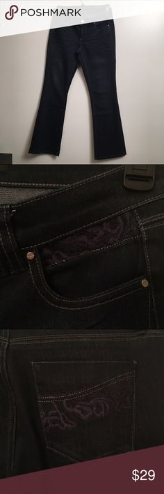 """WHBM Dark Wash Embroidered Jeans Super dark wash jeans from White House Black Market. Tonal embroidered front and back pockets (the thread is as dark as the denim). There is also silver metallic stitching as well. Size Noir 6S. Jeans have a 31"""" inseam. Bootcut. I only wore these jeans twice. Like new. White House Black Market Jeans Boot Cut"""