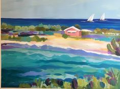 Original painting on watercolor paper by Karen Fields. $145 in my Etsy shop. A personal favorite from my Etsy shop https://www.etsy.com/listing/601558317/coastal-pink-retreat-original-painting
