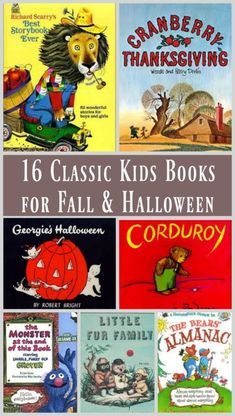 Best Fall, Autumn and Halloween picture books for preschool, kindergarten & elementary ages - classic books and vintage stories that children & adults will love reading together! Kids Story Books, Best Children Books, Childrens Books, Children Toys, Halloween Books For Kids, Halloween Halloween, Fallen Book, Book Corners, Toddler Books