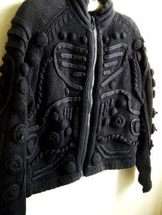 Black 80s vintage knit jacket