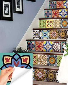 wall Tiles Stickers - Set of 24 tile stickers Back splash Talavera style stickers mixed for walls Kitchen bathroom Stair decals Hand Home, Living Room Furniture, Home Furniture, Escalier Design, Tile Decals, Wall Decal, Wall Tiles, Decals For Walls, Bathroom Decals