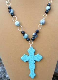 $30 Rugged turquoise cross necklace   auNaturaleJewelry - Jewelry on ArtFire