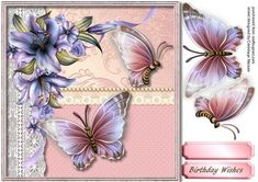 Lovely Butterfly's and Lillies 1,  by Ceredwyn Macrae A lovely card to make and give to anyone with Lovely Butterfly's and Lillie's has one greeting tag and a blank one ,
