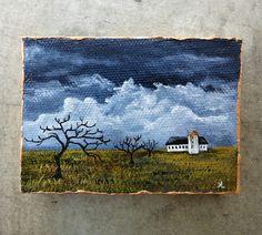 Miniature Autumn Farm Landscape Painting