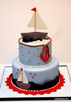 Nautical baby cake
