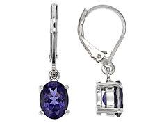 1.68ctw Oval Iolite Sterling Silver Dangle Earrings