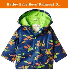 Hatley Baby Boys Raincoat Dragons, Blue, 12 18 Months. Beat the rainy day blues with Hatleys awesome infant raincoats. Featuring our comfy terry lining and as always 100 percent polyvinyl chloride free, our rain coats are seam sealed and waterproof machine washable, hang to dry.