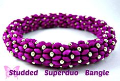 Tutorial Studded Superduo Bangle. Instant Download Pattern. Suitable All levels. Original design by Butterfly Bead Kits.