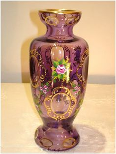 Vintage Bohemian purple cased glass cut to clear and hand painted vase, c. 1940