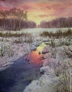 Покровское- Стрешнево - разноцветный,акварель,акварельная картина,акварельная живопись