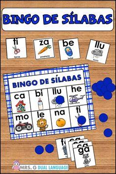 Spanish syllables game. Bingo de silabas