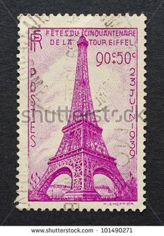 FRANCE - CIRCA 1939: A postage stamp printed in France showing an image of Eiffel Tower, circa 1939. Description from shutterstock.com. I searched for this on bing.com/images