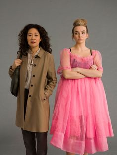 Sandra Oh, Jodie Comer, Pastel Purple, English Actresses, White Style, Classy Outfits, Playing Dress Up, Pink Dress, Eve