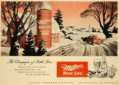 Miller High Life vintage ad.  Christmas sleigh ride