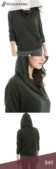 Lole pullover cowl neck hoodie **like new!!!! Organic cotton cowl neck pull over hoodie. Worn once!!!! Got as a gift...I'm not a fan of dark grey. Lole Sweaters Cowl & Turtlenecks